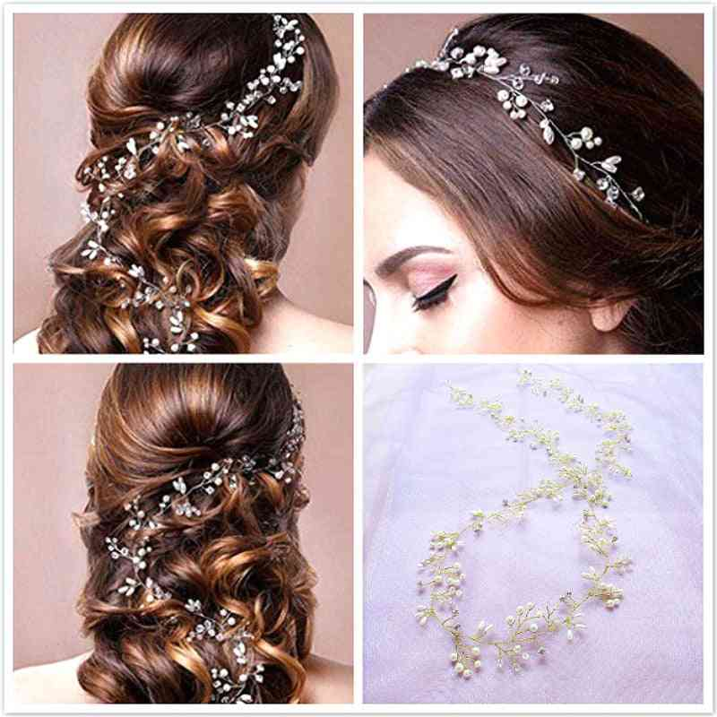 Crystal Pearl Hair Belt For Brides Wedding Accessories