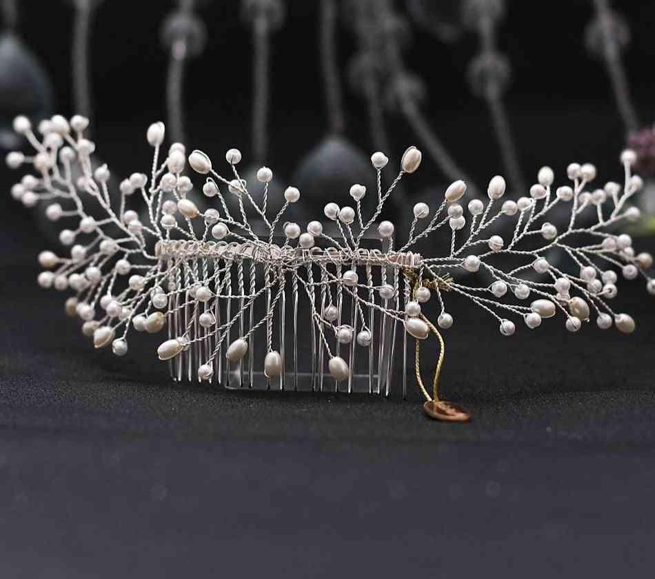 Tiara Bridal, Jewelry Pearl Wedding, Hair Combs Accessories
