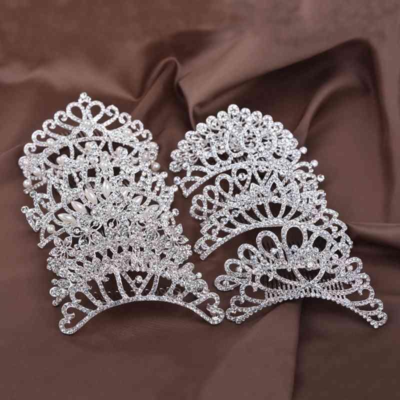 Princess Crown, Show Bridal, Tiara Crystal Floral, Hair Head Jewelry Accessories