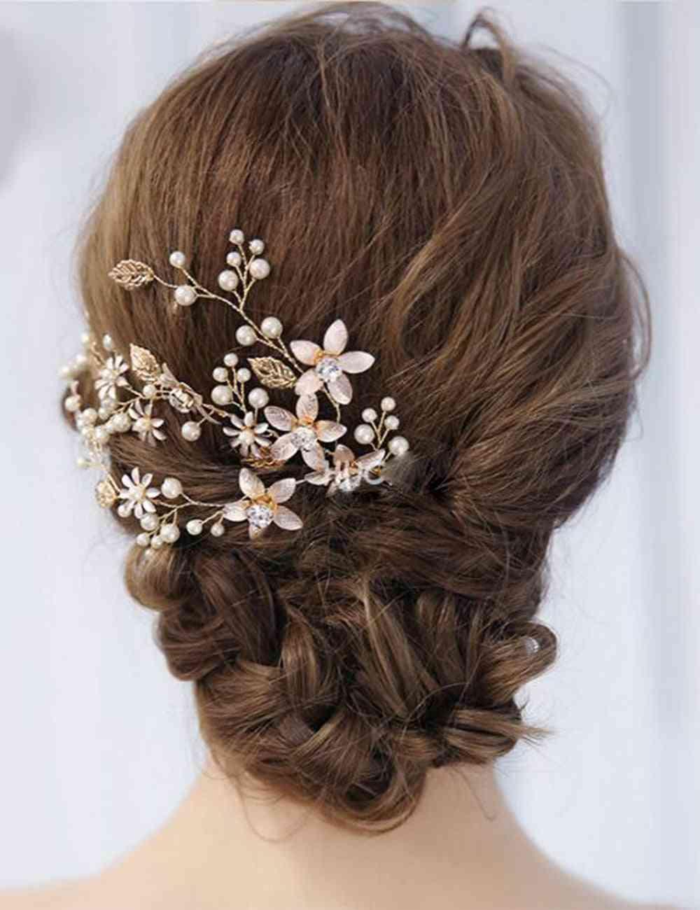 Vintage Gold, Leaves & Floral Crystal, Pearl Vine Headband, Hair Accessories (gold)
