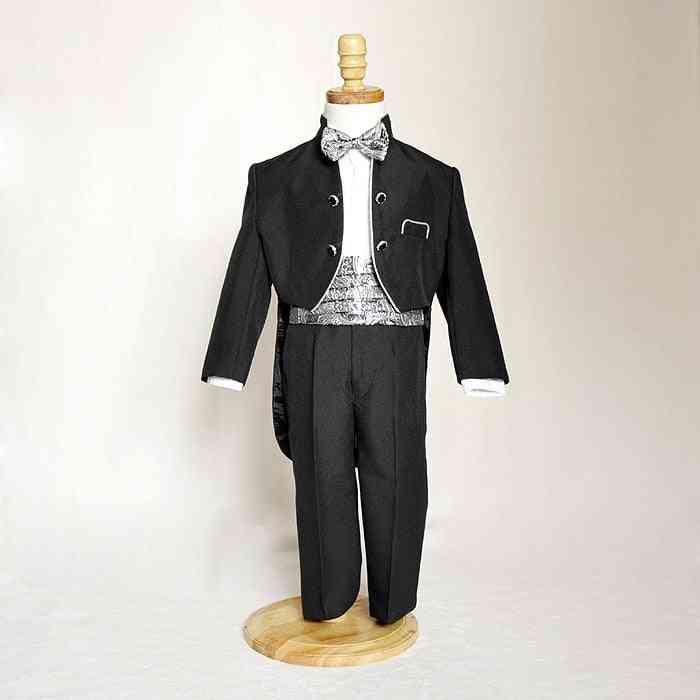 Smart Small Stand Collar, Silver Edge Boy's Wedding Attire, Kids Tuxedo Suit