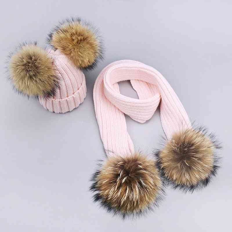 Girl Pompon And Scarves Sets, Winter Knitted Warm Nature Fur Hat