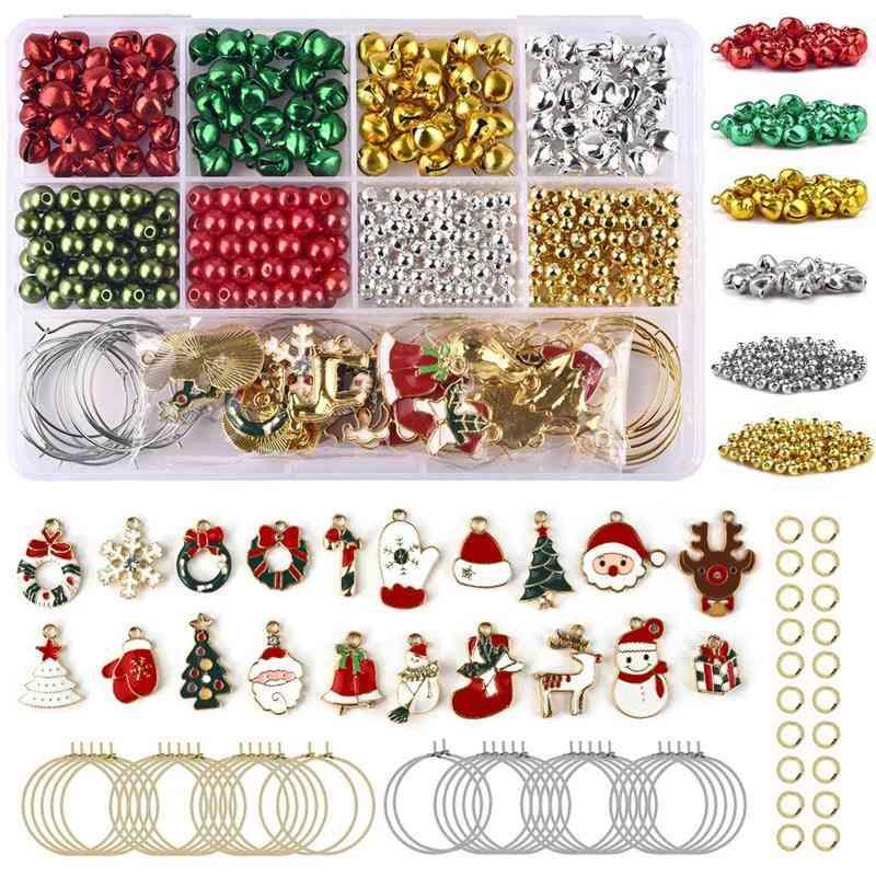 Christmas Diy Alloy Pendants Charms, Earring Hooks & Little Bells Jewelry Making Kits