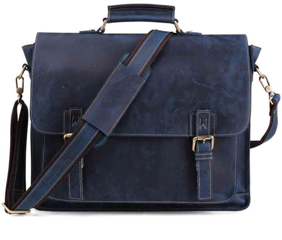 Vintage Leather Briefcase, Messenger, Laptop Travel Bag