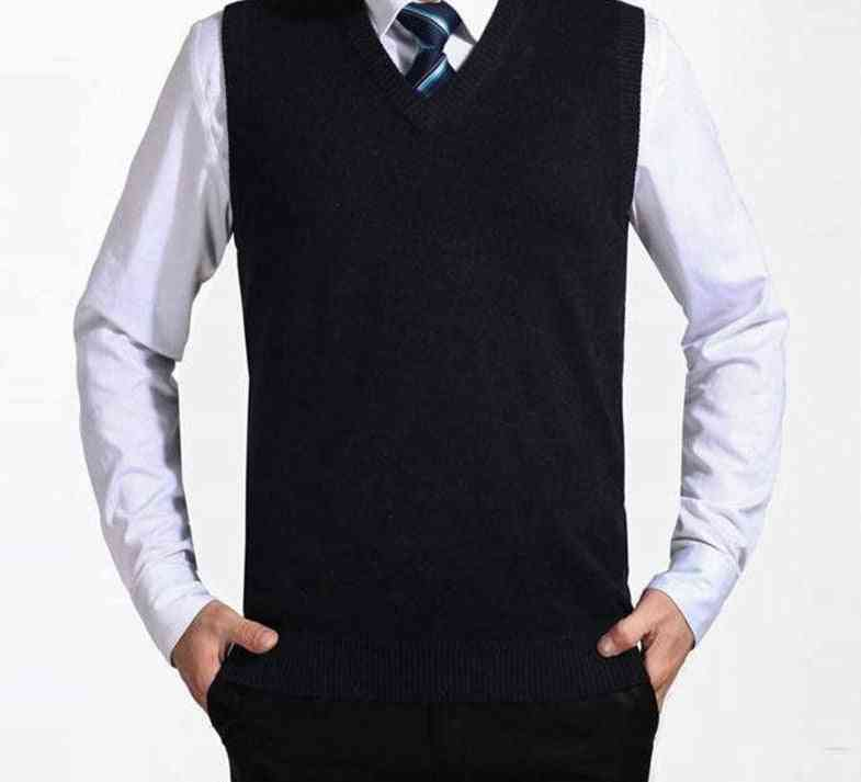 Men Cashmere Sweaters, Wool Pullover V-neck Sleeveless Jersey