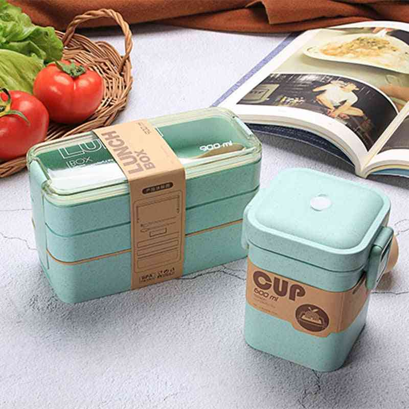 Lunch Box Layer Wheat Straw Bento Microwave Dinnerware Food Storage Container