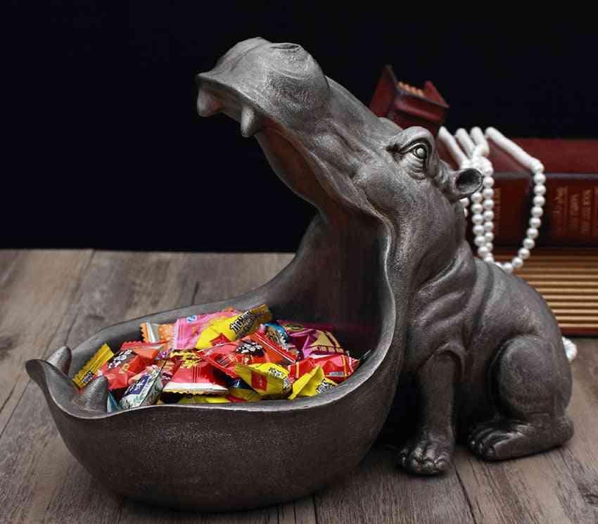 Hippopotamus Sculpture Figure For Container, Decoration Home, Table Accessories