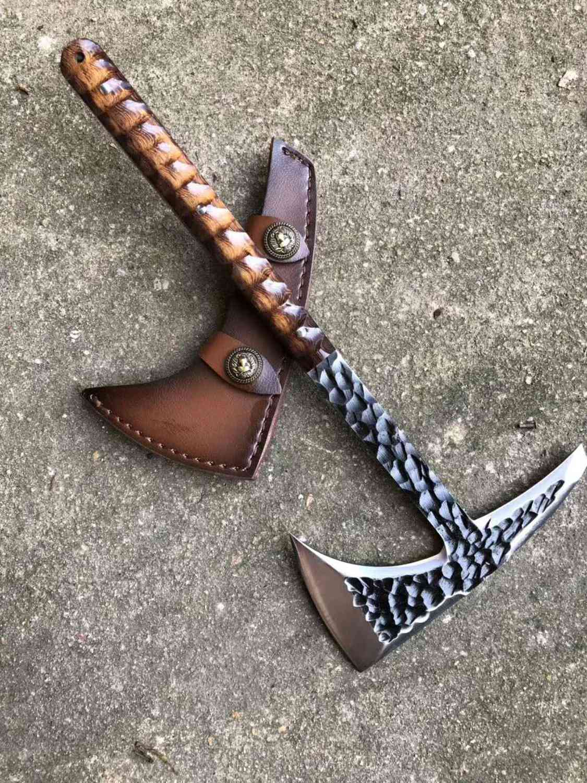Hand Made Tactical Axe Tomahawk Viking Hatchet Beared Camping Head