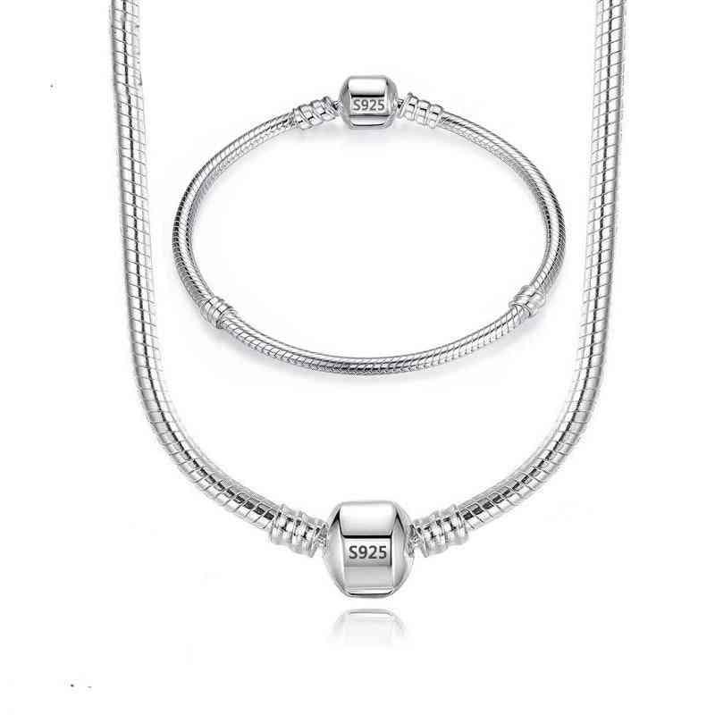 Handmade Original Silver Necklace, Bracelet Jewelry Set