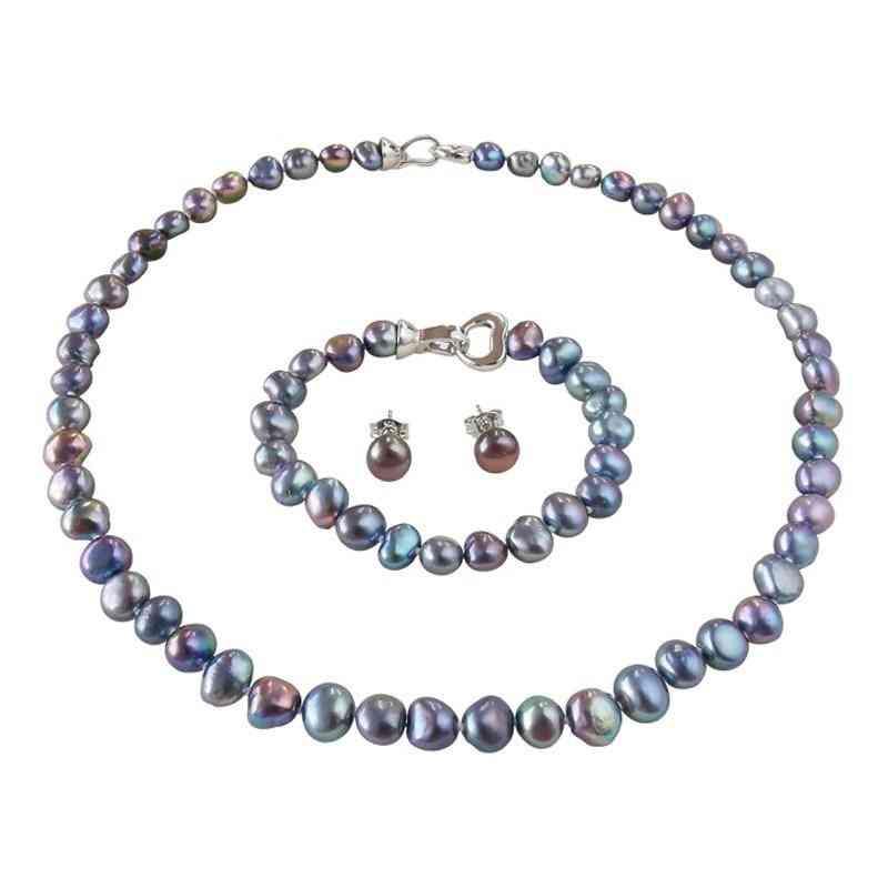 Silver Necklace/bracelet/earrings Jewelry Pearl Sets