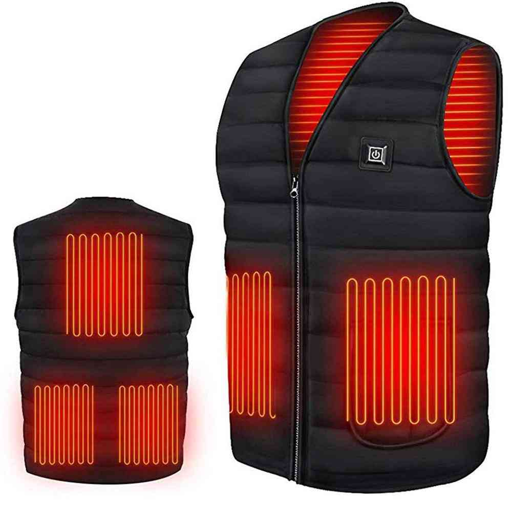 Men Autumn & Winter Usb Infrared Electric Heating Cotton Vest, Thermal Warm Jacket