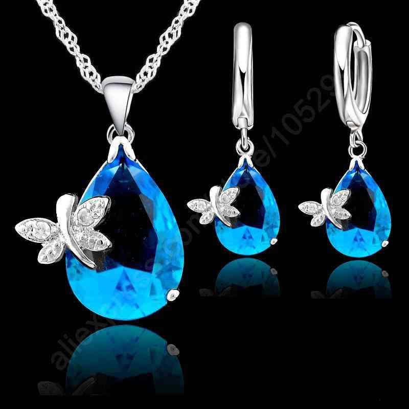 Fine Water Drop Crystal Bridal Wedding Jewelry Sets