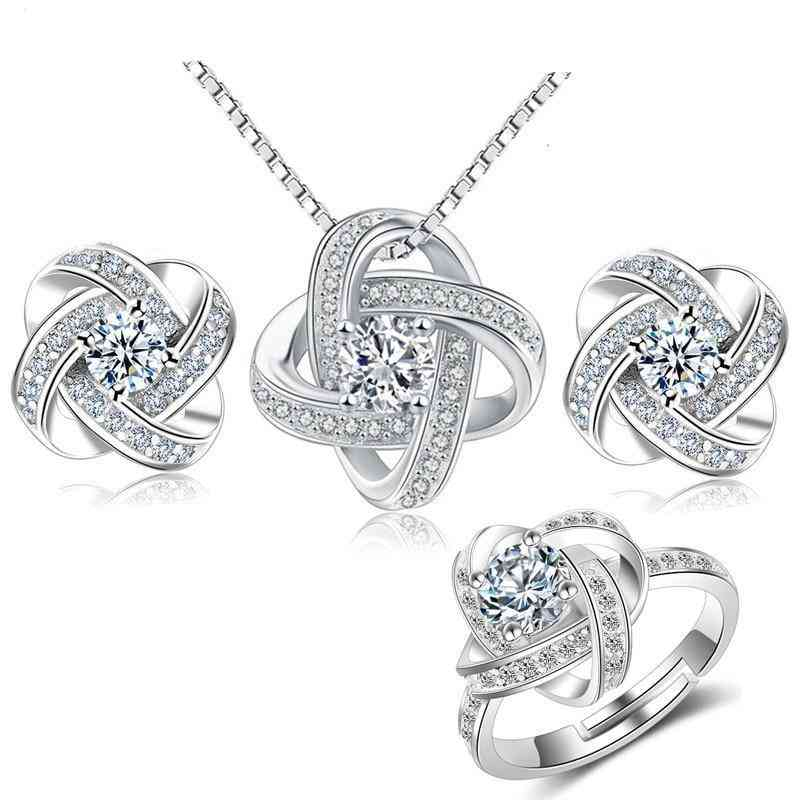 Silver Crystal Cross Clover Flower Bridal Jewelry Sets