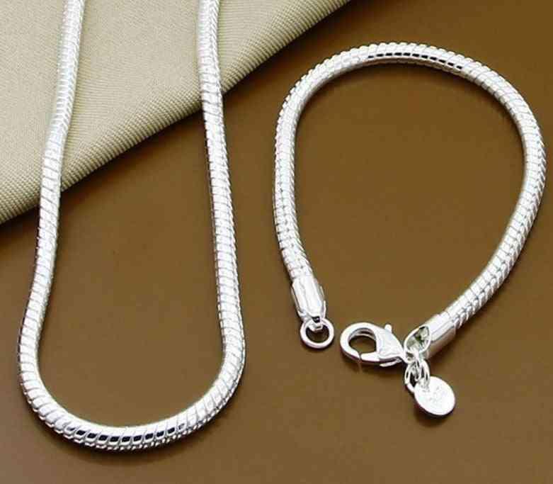 Silver Solid Snake Chain Bracelet Necklace Men
