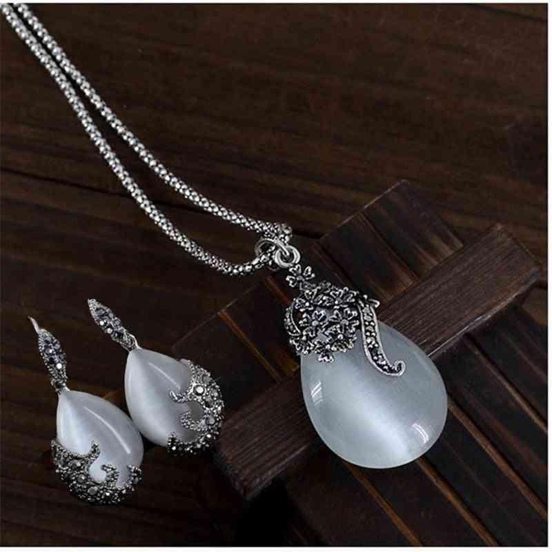 Vintage Water Drop Pendant Necklaces Earrings Set