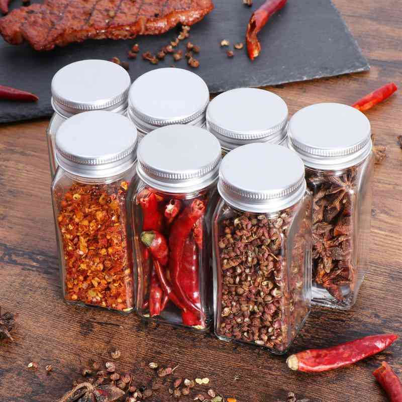 Spice Jars, Glass Bottles With Cover Lids, Containers Kitchen, Storage Holder