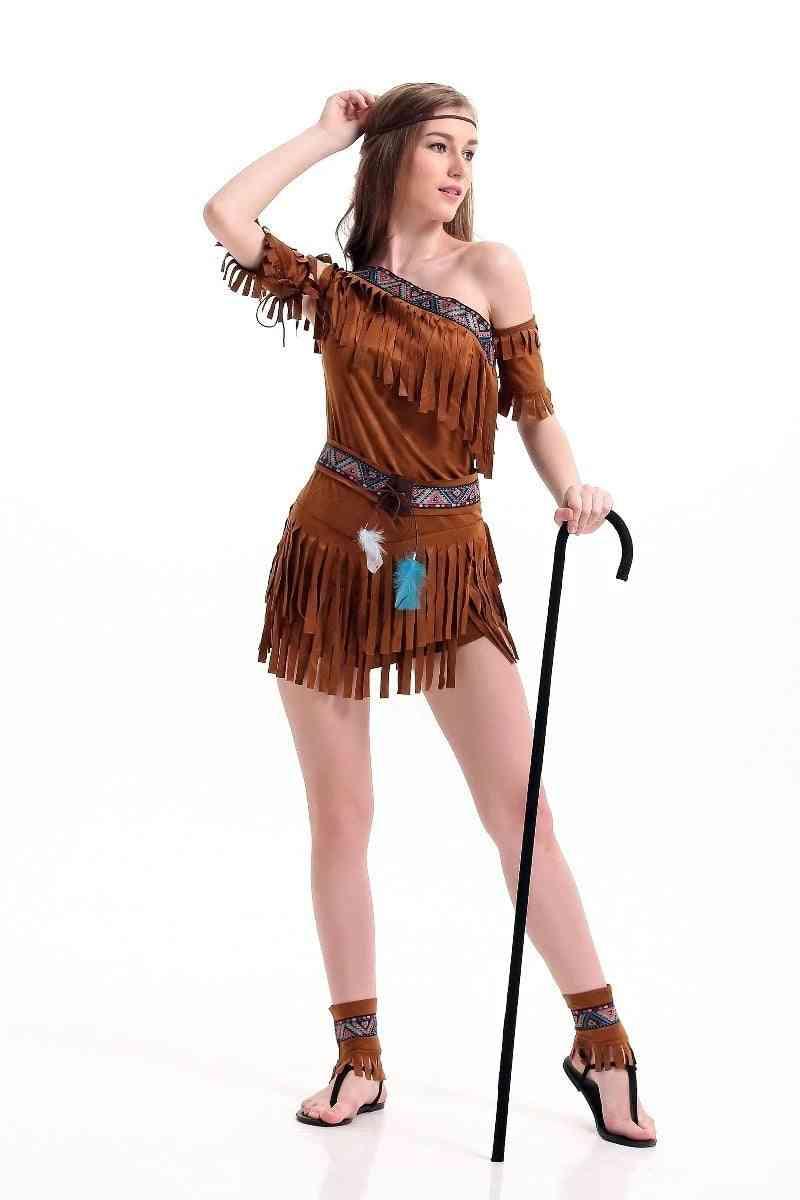 Women Halloween Indian Tribal Dance Dress, Tassel Costume
