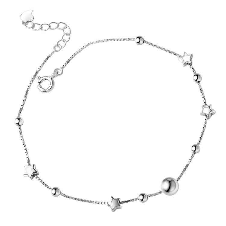 Sterling Silver Star Chain Anklet Or Women Foot Jewelry