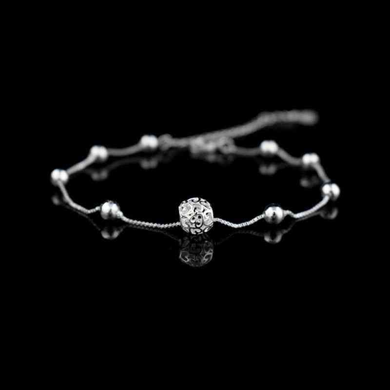 925 Sterling Silver, Chain Hollow Ball Anklets Bracelet's