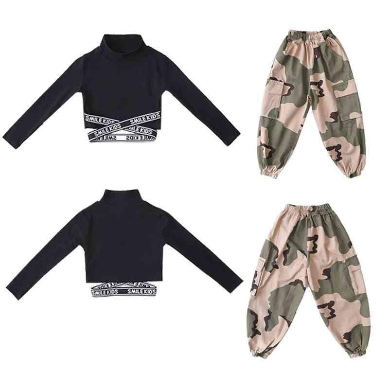 Hip-hop Sweatshirt, Crop-top Long-sleeve & Tactical Cargo Pants For
