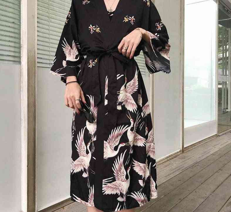 Long Cardigan Haori Traditional Japanese Kimonos Dress Shirt's