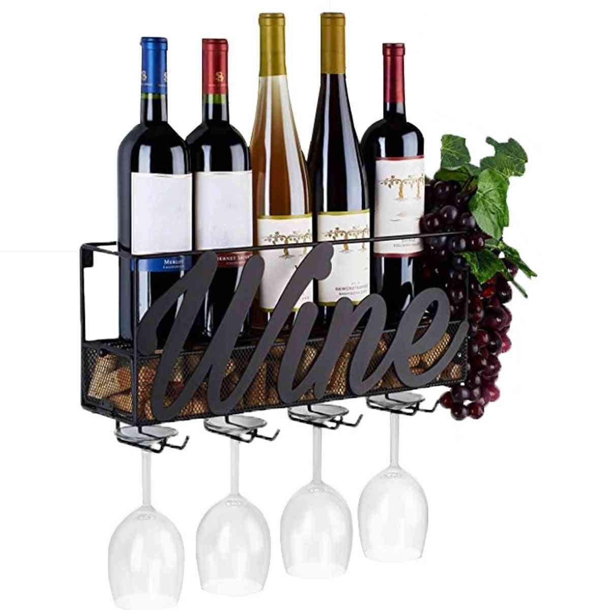 Wine Rack, Bottle Store, Wall Mounted Shelf With 4 Built-in Wine, Glass Holders