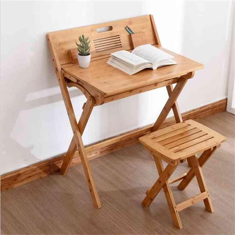 Eco-friendly Bamboo Folding, Writing Study Desk With Stool