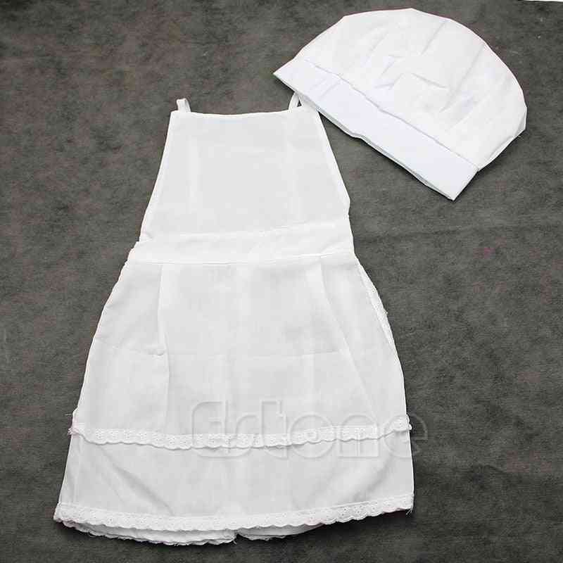 Cute White Form, Cook Costume ,prop Hat & Apron For (white One Size)