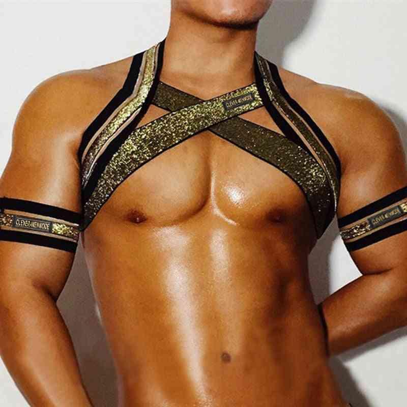 Elastic Belt Harness, Shoulder Strap, Bandage Lingerie With Arm Band - Club Party Costume
