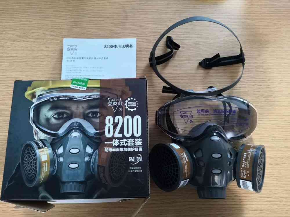 Gas Mask With Filters, Full Face Protective For Spray Painting, Chemical Pesticide