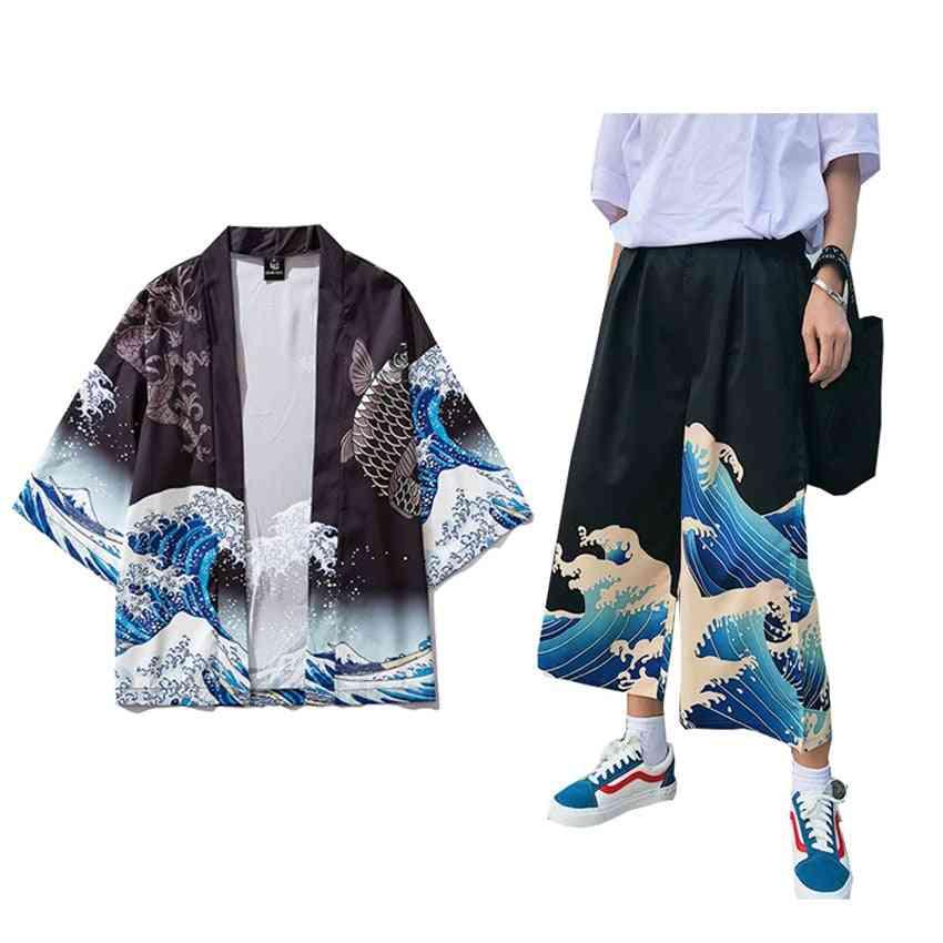 Woman Japanese Harajuku Kimono Haori Thin Sunscreen Coat / Cardigan, Man Wide Leg Pants & Trousers