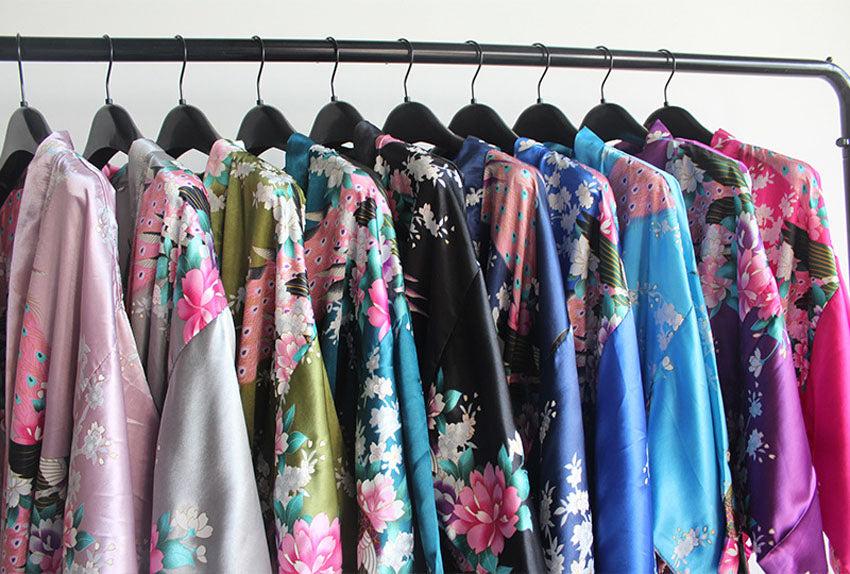 Japanese Kimono Yukata Sleepwear Dress With Belt Satin Silk For Woman