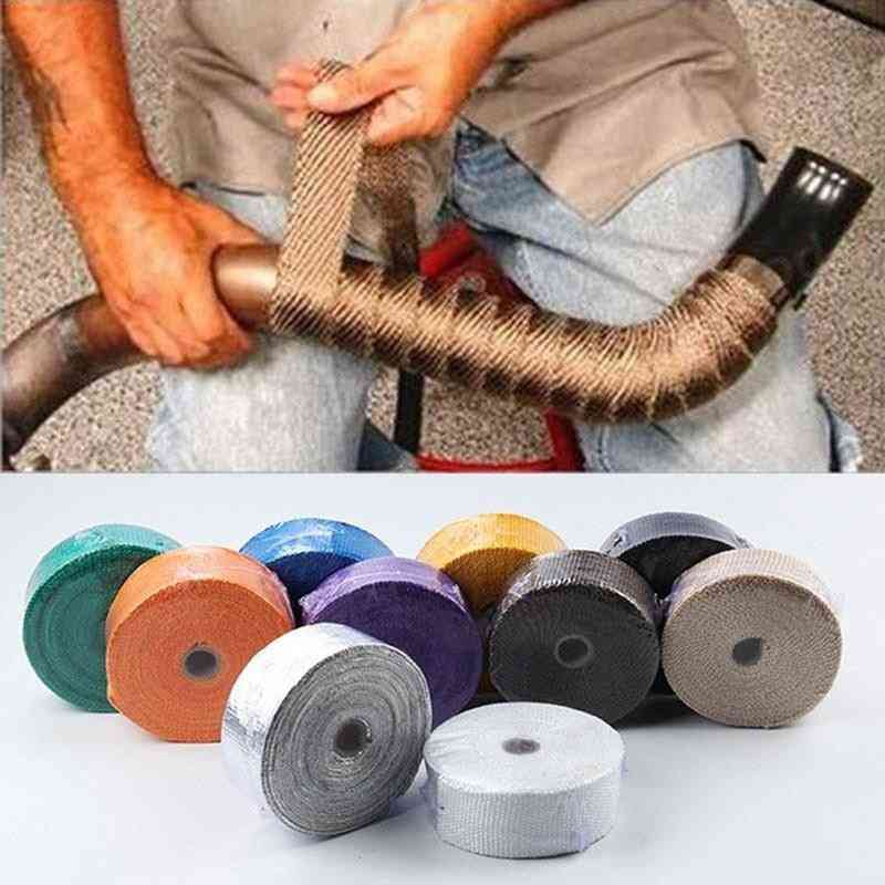 Car Motorcycle Thermal Stainless Ties Turbo Manifold Heat Exhaust Wrap Tape