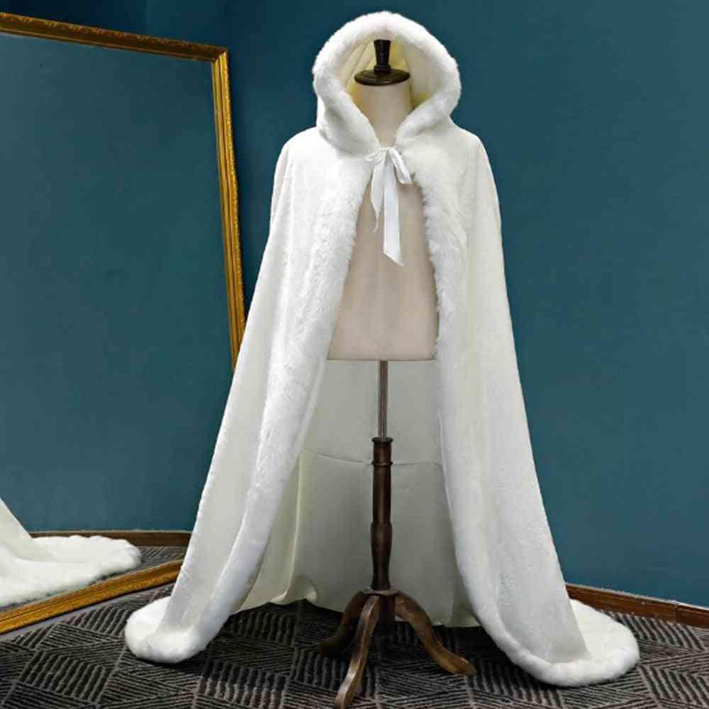 Warm Faux Fur Trim Winter Bridal Cape, Stunning Wedding Cloaks Hooded