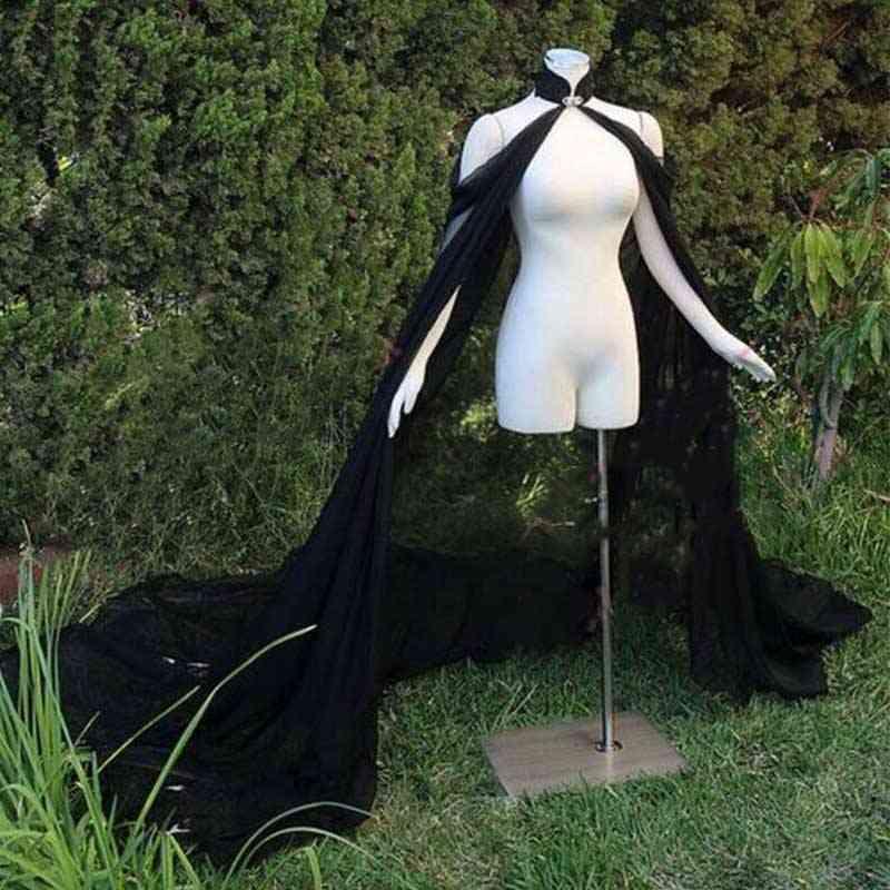 Chiffon Elegant, Bride Bolero, Cape Coat, Cloak Long Shawl, Elf Dress