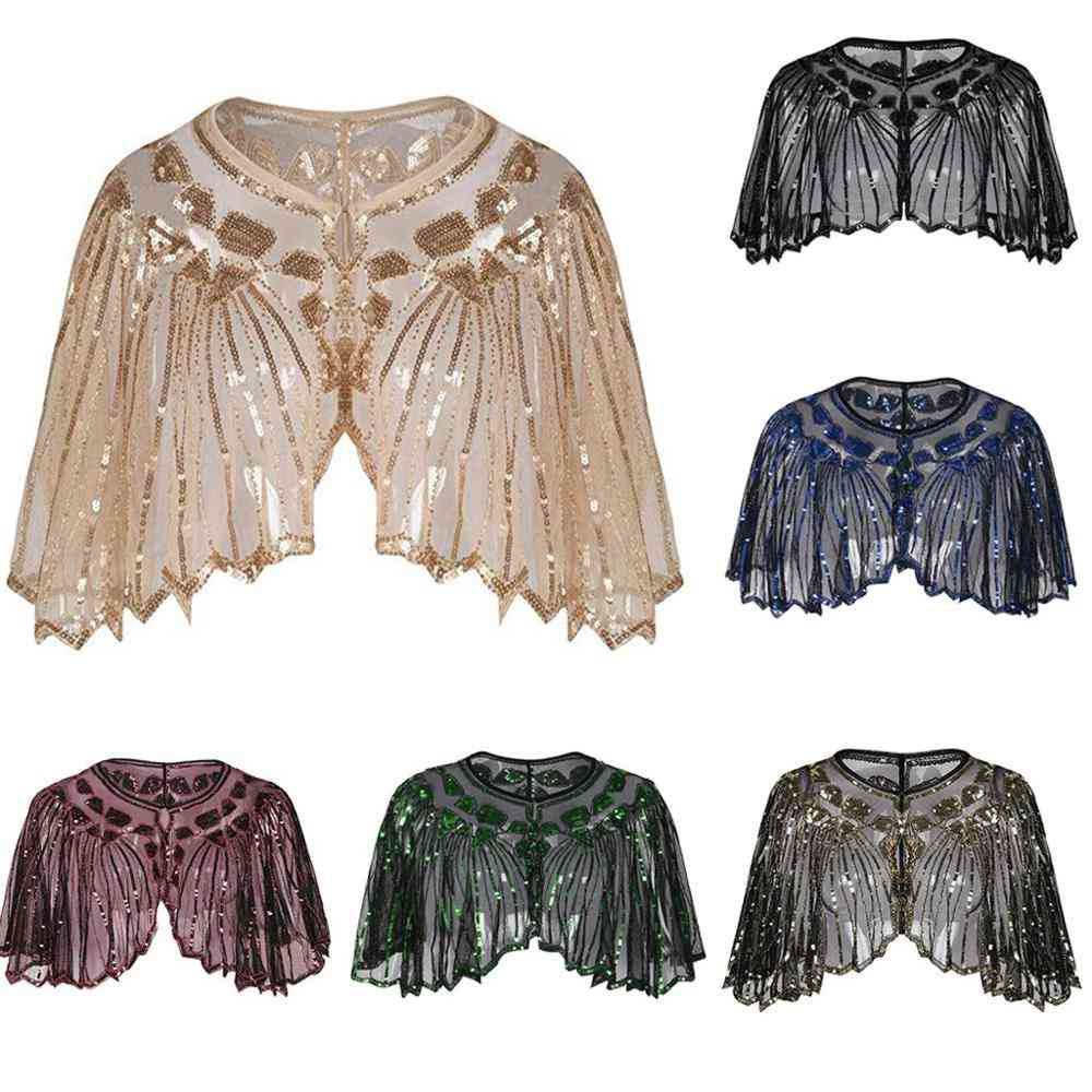 Vintage Flapper Shawl, Sequin Beaded Short Cape Mesh Cover Up Dress