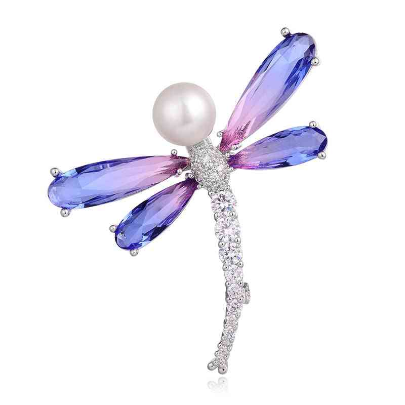 Hongye Natural Freshwater Pearl Females Brooches Butterfly Sparkly Pin