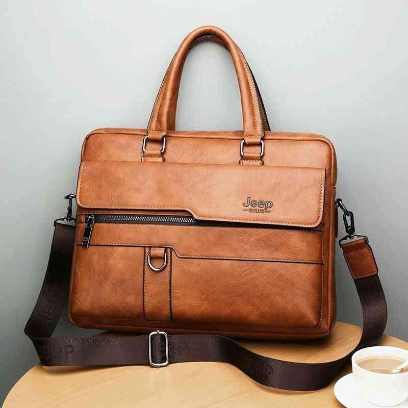 Business Briefcase, Leather, Shoulder Messenger Handbag