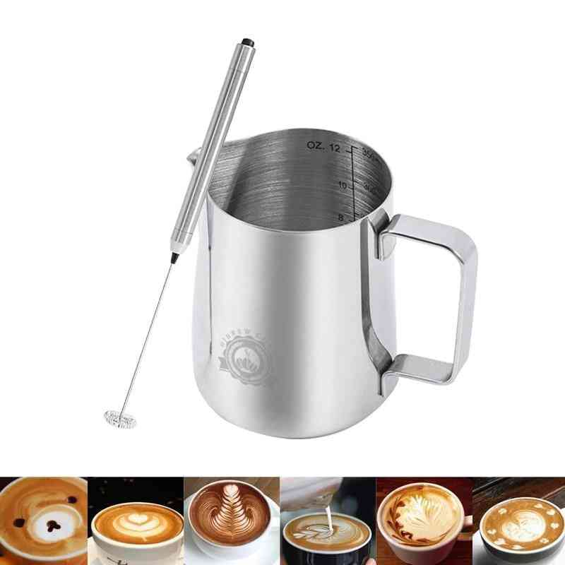 Stainless Steel Coffee Pitcher Milk Frothing Jug Pull Flower Cup
