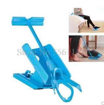 Sock Slider Aid, Blue Helper Kit- Put Socks On/off, Shoe Foot, Brace Support