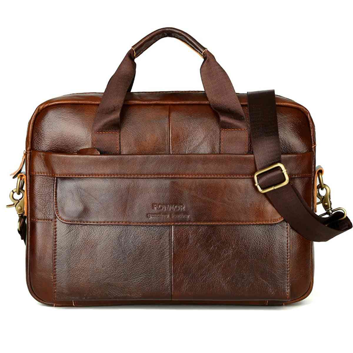 Men's Briefcase, Cowhide Leather, Crossbody Bags