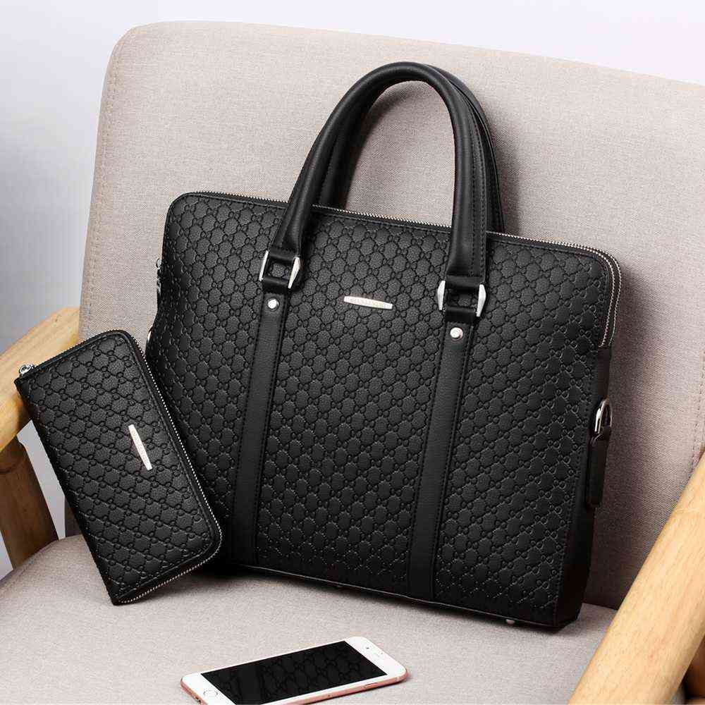 Double-layers Leather Briefcase & Casual Shoulder, Messenger Handbags
