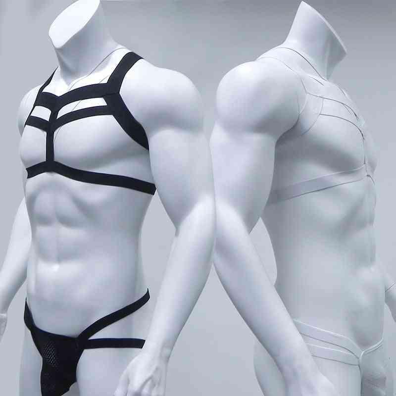 Bondage Mens Harness Thongs Set, Body Chest, G-string Jockstrap / Halter Neck Hollow Out Nightclub Costume