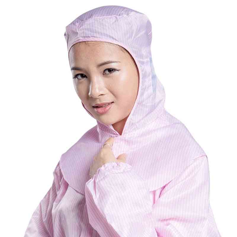 Anti-static Striped Dust-proof Work Cape, Head Cover Painting Lab Protective Hat