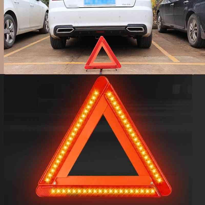 Foldable, Led Warning Triangle Reflective - Safety Emergency Stop Hazard Sign