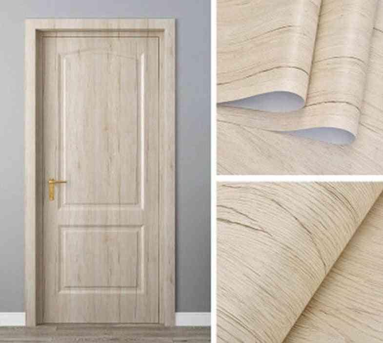 Wood Grain Wallpaper On The Door Wall Sticker