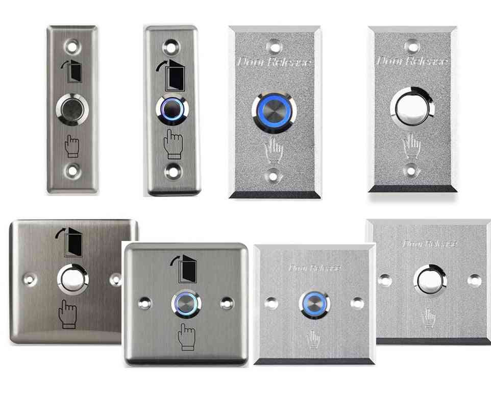 Stainless Switch- Door Exit Button, Push To Open, Home Release With Led Light