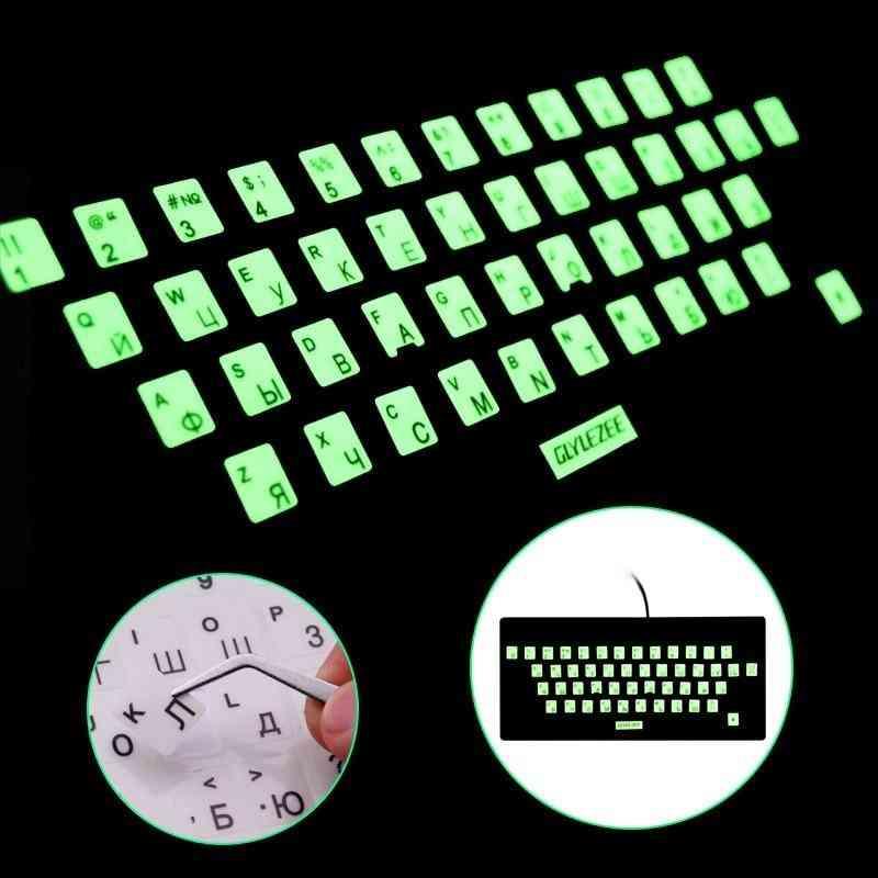 Sr Luminous Waterproof Russian Language Keyboard Stickers Protective Film