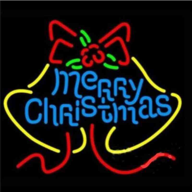 Merry Christmas Glass Neon Light Sign For Decoration