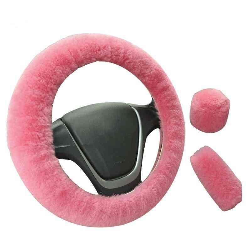 Winter Fur- Car Steering Wheel & Hand Brake Gear Cover, Interior Accessories